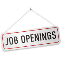 Image of a sign, hanging askew, that says Job Openings.