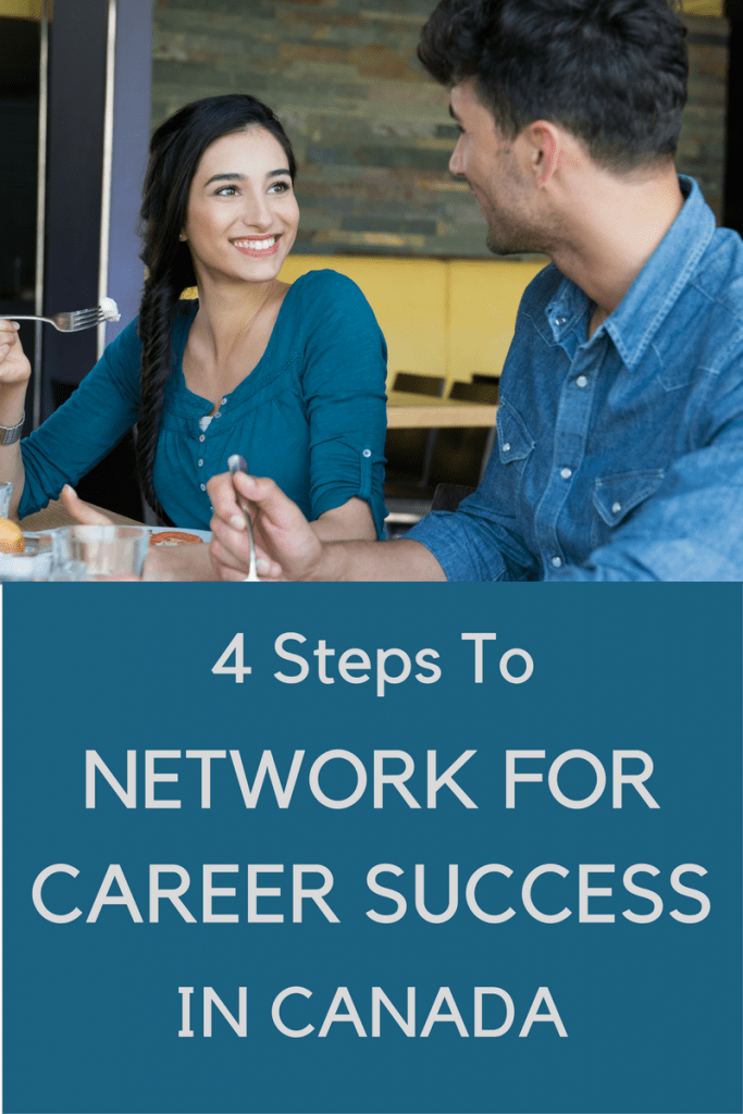 Image of two people sitting in a cafe, chatting. The text on the image says: 4 steps to network for career success.